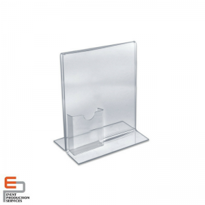 Small Freestanding Clear Acrylic Magnetic Picture Photo Frame with Business Card Hold.